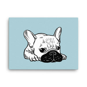 Black Mask Cream Frenchie Illustration Canvas by Emotional Frenchies