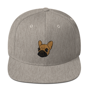 Black mask fawn Frenchie Puppy Wool Blend Snapback by Emotional Frenchies