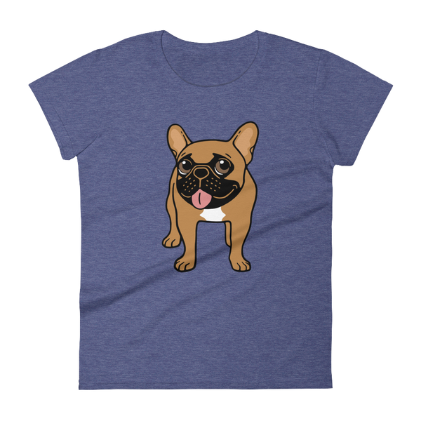 Black Mask Fawn French Bulldog is ready to play Women's short sleeve t-shirt by Emotional Frenchies