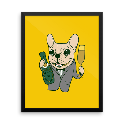 Celebrate with the cute Frenchie Framed poster by Emotional Frenchies