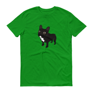 Brindle Frenchie likes to go for a walk to meet some friends Short-Sleeve T-Shirt by Emotional Frenchies