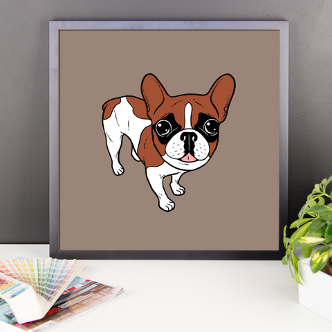 Black Mask Red Pied French Bulldog Framed poster by Emotional Frenchies
