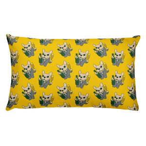 Celebrate with the cute Frenchie Rectangular Pillow by Emotional Frenchies