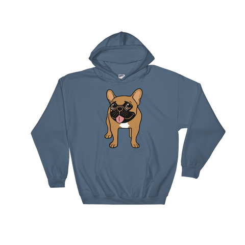 Black Mask Fawn French Bulldog is ready to play Hooded Sweatshirt by Emotional Frenchies