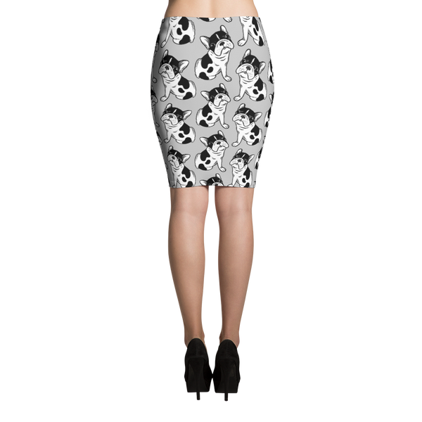 Brindle Pied Frenchie Puppy Pencil Skirt by Emotional Frenchies