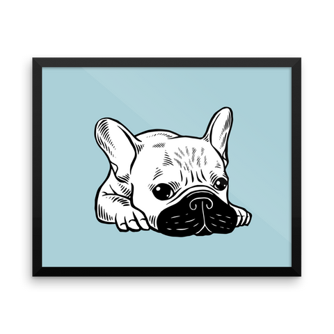 Black Mask Cream Frenchie Illustration Framed poster by Emotional Frenchies