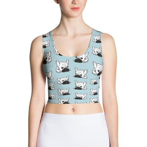 Black Mask Cream Frenchie Illustration Sublimation Cut & Sew Crop Top by Emotional Frenchies