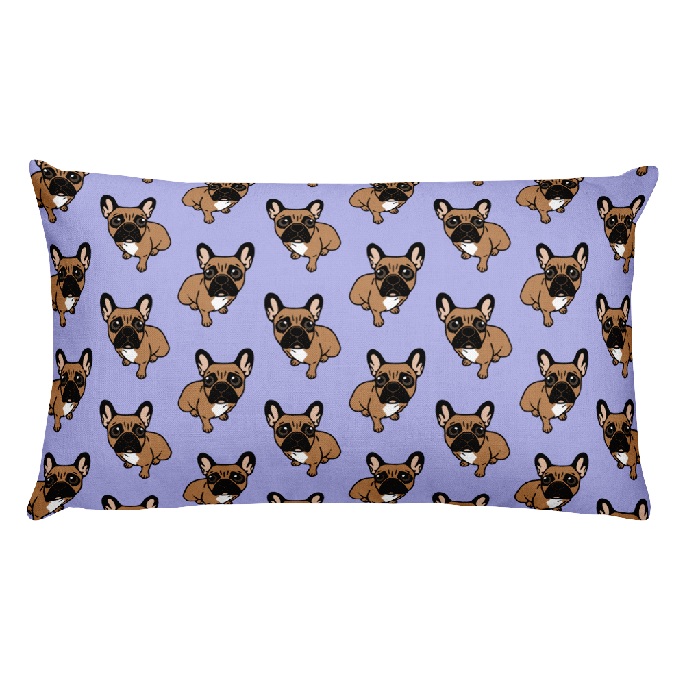 Be nice to the cute black mask fawn Frenchie Rectangular Pillow by Emotional Frenchies