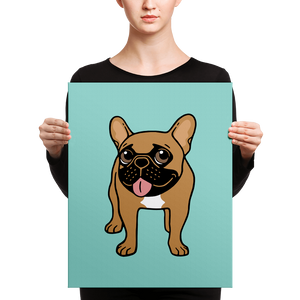 Black Mask Fawn French Bulldog is ready to play Canvas by Emotional Frenchies