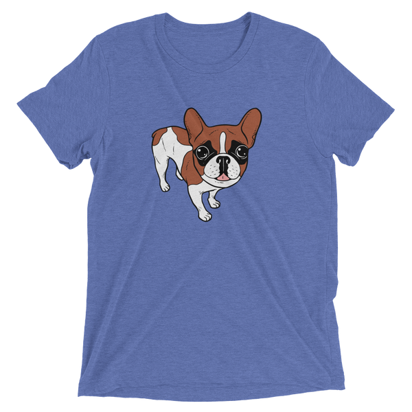Black Mask Red Pied French Bulldog Short sleeve t-shirt by Emotional Frenchies