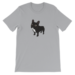 Brindle Frenchie likes to go for a walk to meet some friends Short-Sleeve Unisex T-Shirt by Emotional Frenchies