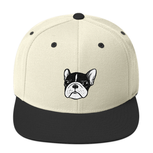 Brindle Pied Frenchie Puppy Wool Blend Snapback by Emotional Frenchies