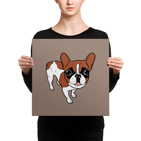 Black Mask Red Pied French Bulldog Canvas by Emotional Frenchies