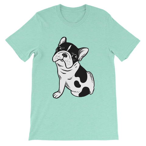 Brindle Pied Frenchie Puppy Unisex short sleeve t-shirt by Emotional Frenchies