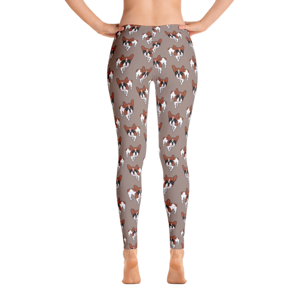 Black Mask Red Pied French Bulldog Leggings by Emotional Frenchies