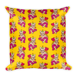 French Bulldog is a party animal Square Pillow by Emotional Frenchies