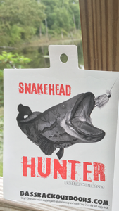 Snakehead Hunter Decal- Quality UV protecting coated 6mil vinyl die cut . Great for truck, car, kayak , cooler , anywhere you want to rep it proudly !!! Made in the 🇺🇸  ***Price Includes Tax and Shipping***