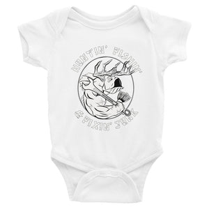 """Mommy and Daddy's little hunter, fisher & mechanic"" onesie"
