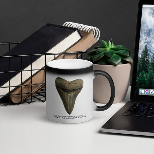Megalodon Shark Tooth Magic Mug - When it comes into contact with a hot beverage, the mug reveals the tooth like uncovering it for the very first time over and over again!