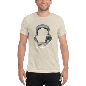 All Hail Megalodon! - Comfortable Tri-Blend short sleeve t-shirt (Sizes Small-4XL & Multiple Colors Available)