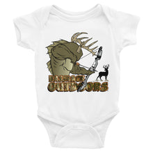 """Mommy and Daddy's little deer hunter"" Infant onesie"