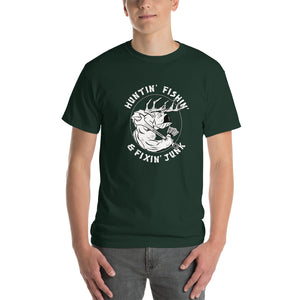 Huntin' Fishin' & Fixin' Junk  - Comfortable Short Sleeve T-shirt (Sizes Small - 5XL & Multiple Colors Available)