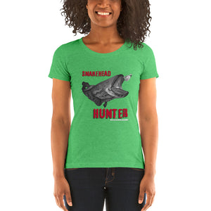 Ladies' Snakehead Hunter Black&White- Comfortable & Soft Tri-Blend Short Sleeve (Sizes Small - 2XL & Multiple Colors Available)