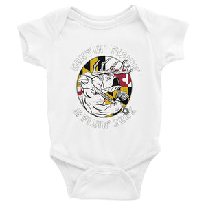 """Mommy and Daddy's little Maryland hunter, fisher and mechanic"" Infant onesie"