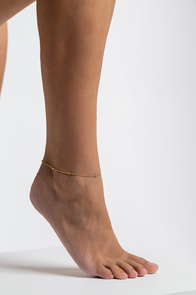 The Black Onyx Anklet - Gold - TheCrystalBoutique™