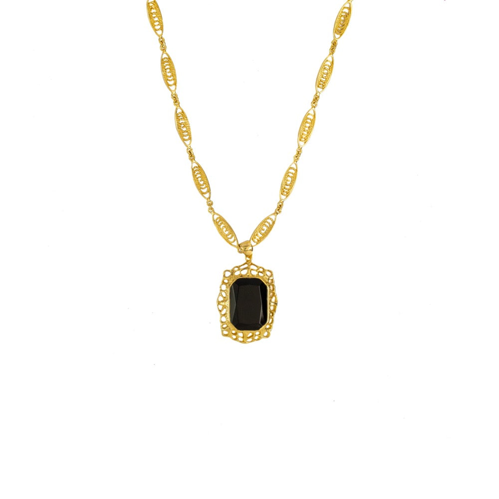 The Eleanor Necklace in Black Onyx - TheCrystalBoutique™