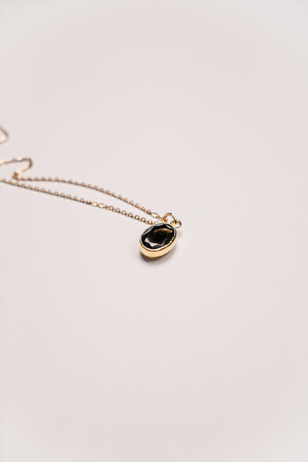 NEW STYLE:  Smokey Quartz Oval Pendant - Gold - TheCrystalBoutique