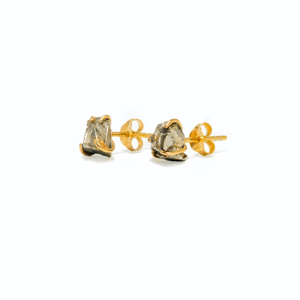 The Pyrite Stud Earrings - TheCrystalBoutique™