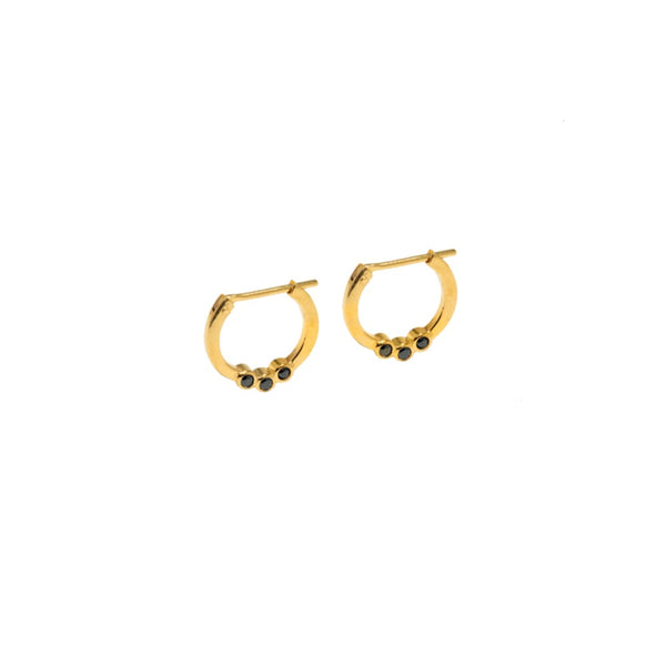 The Cristina Earring - Black Onyx Gold Hoop Earring - TheCrystalBoutique™