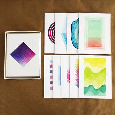 #100PagesOfAPSsketchbook Geometric Watercolor Greeting Card Box Set