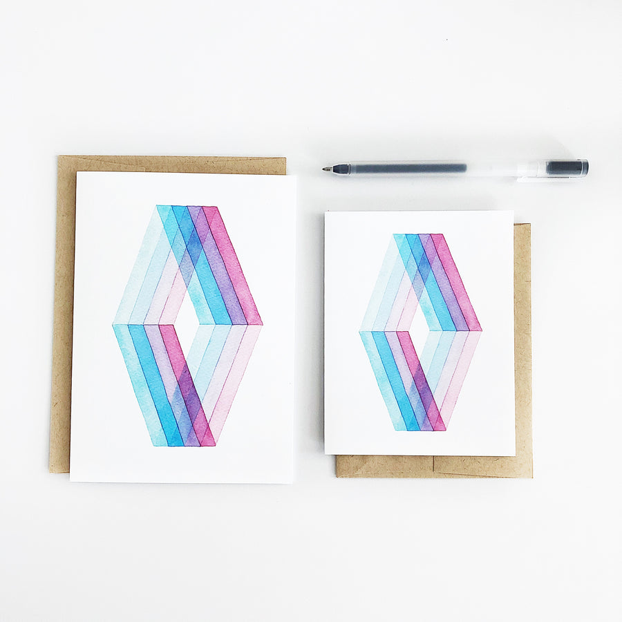 Day 25 Geometric Watercolor Greeting Card