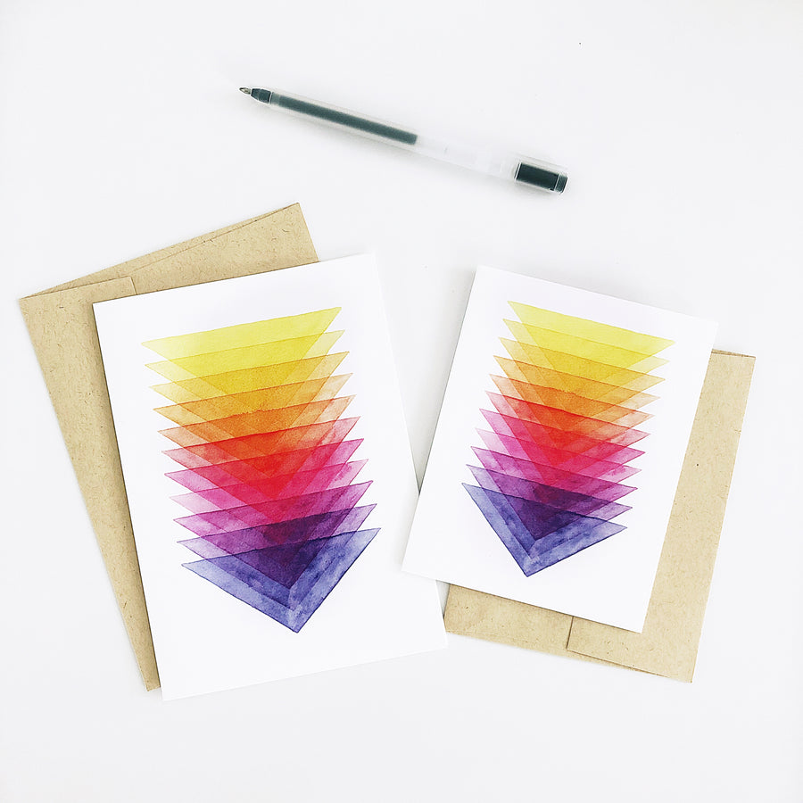 Day 52 Geometric Watercolor Triangle Rainbow Greeting Card