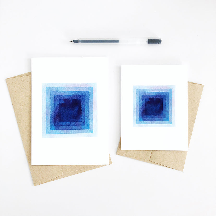 Day 54 Geometric Watercolor Squares Greeting Card