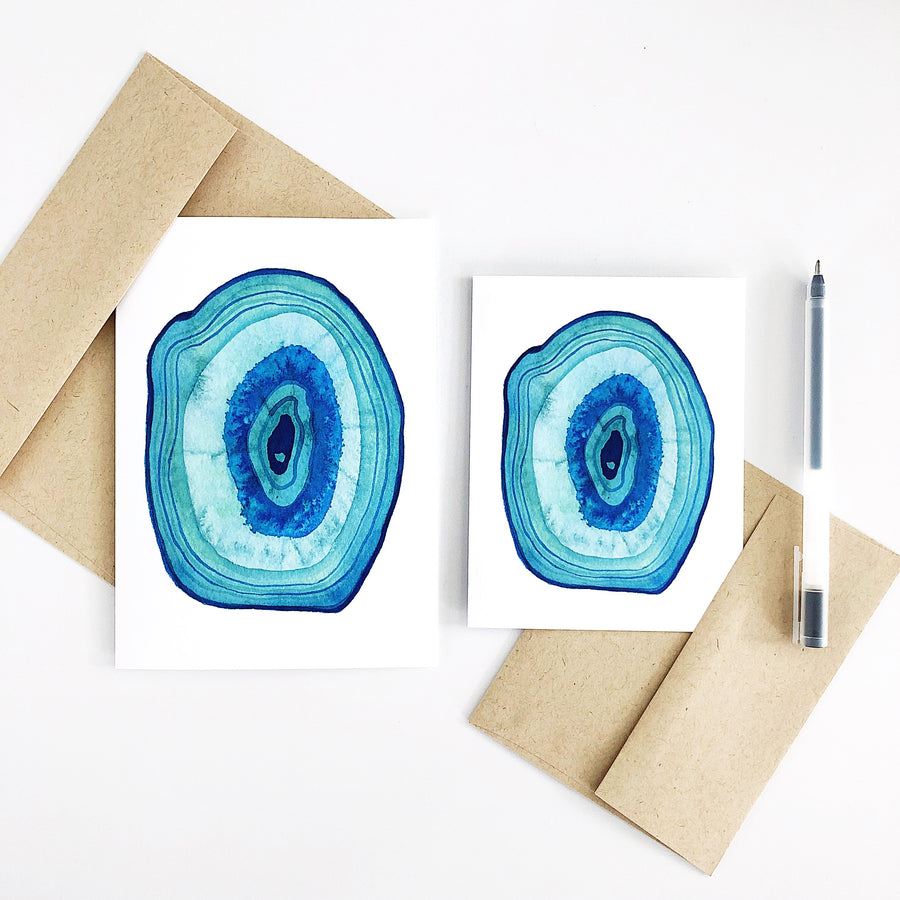 'Day 5' Watercolor Agate Slice Greeting Card