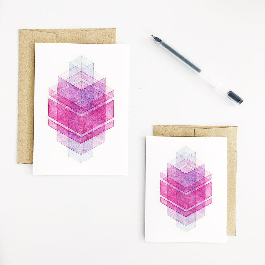 'Day 89' Geometric Watercolor Greeting Card