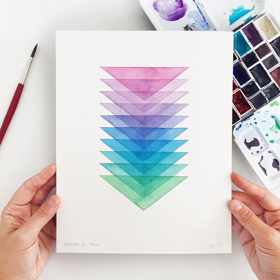 Series 0: Ten // Original geometric watercolor painting // A Perfect Something