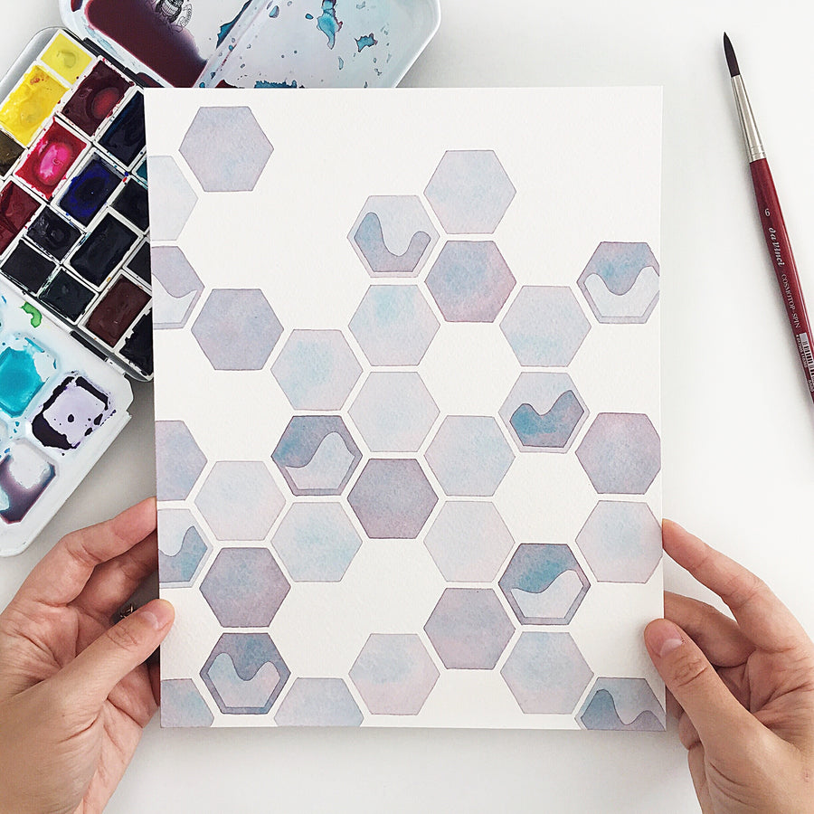 Series 0: Fourteen // Original geometric watercolor painting // A Perfect Something
