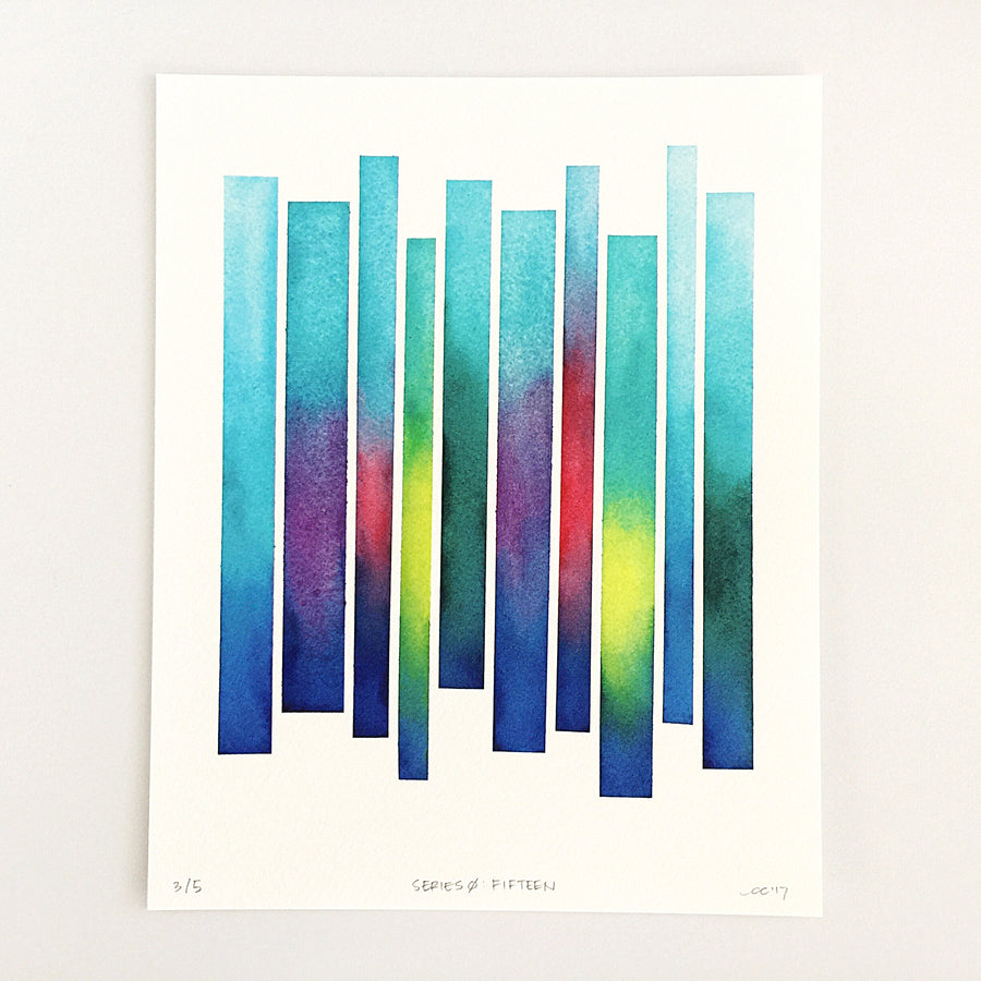 Series 0: Fifteen — Geometric Watercolor Limited Edition Print