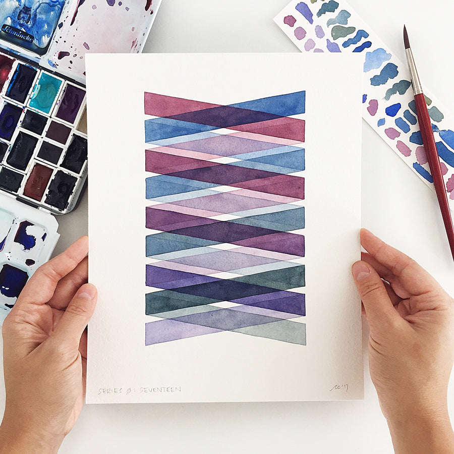 Series 0: Seventeen // Original geometric watercolor painting // A Perfect Something