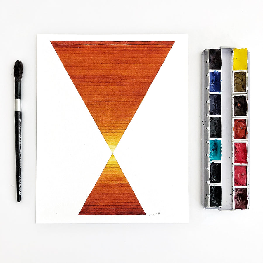 Desert Hourglass Large Geometric Watercolor Print APS Gives Back
