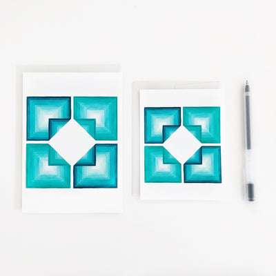 Folded Oceans 2 Geometric Watercolor Greeting Card APS Gives Back