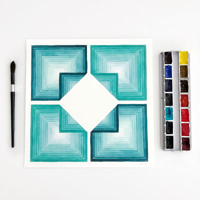 Folded Oceans 2 Large Geometric Watercolor Print APS Gives Back