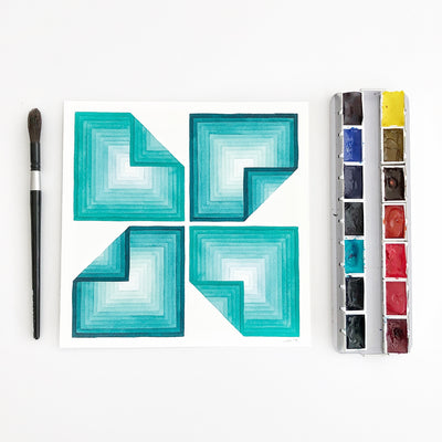 Folded Oceans 3 Small Geometric Watercolor Print APS Gives Back