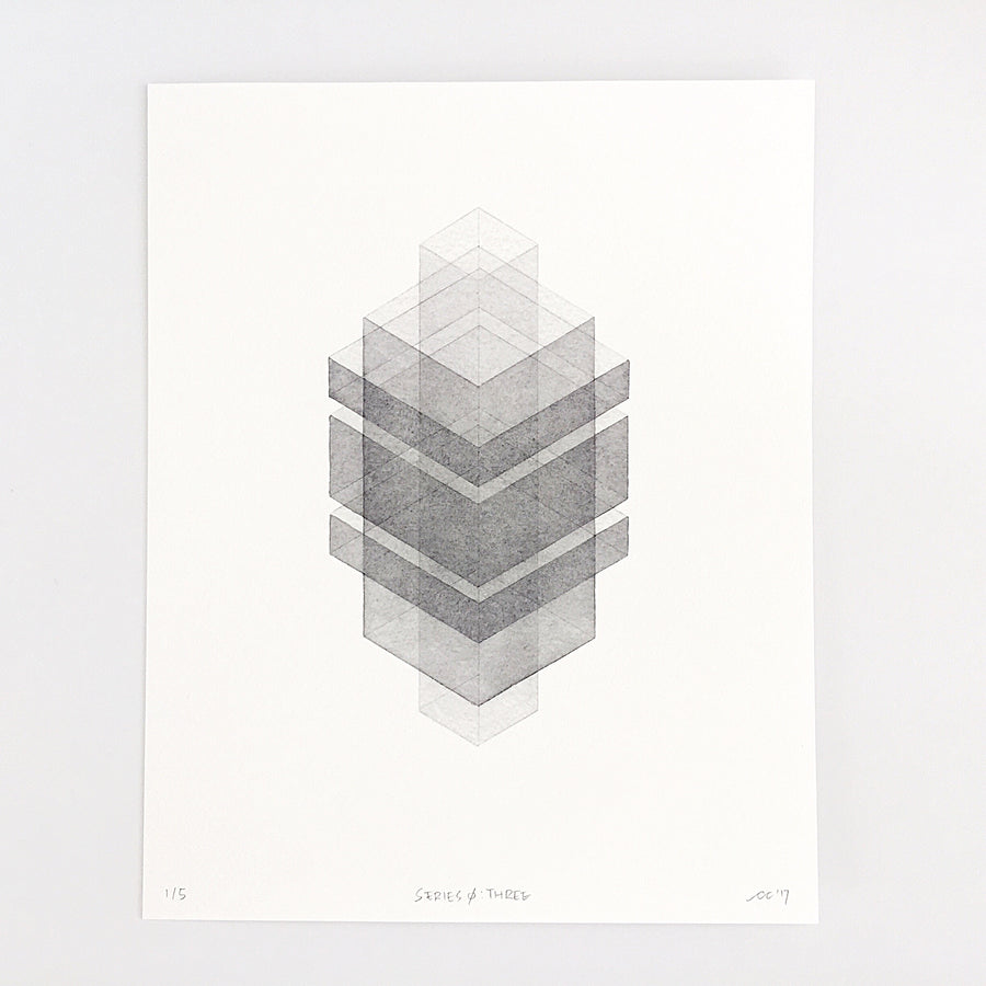 Series 0: Three — Geometric Watercolor Limited Edition Print