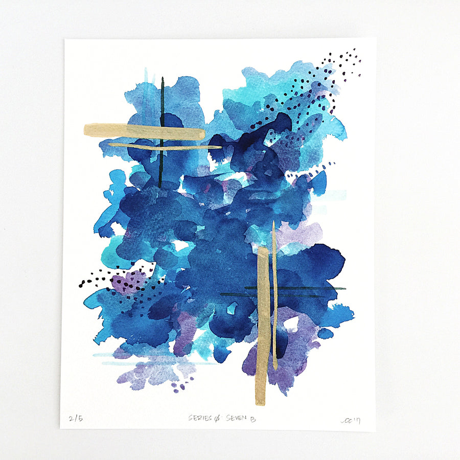 Series 0: Seven B — Geometric Watercolor Limited Edition Print