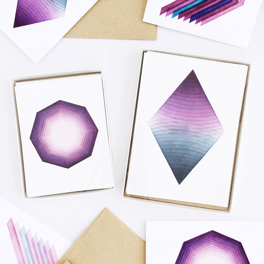 APS Gives Back Geometric Watercolor Greeting Card Box Set